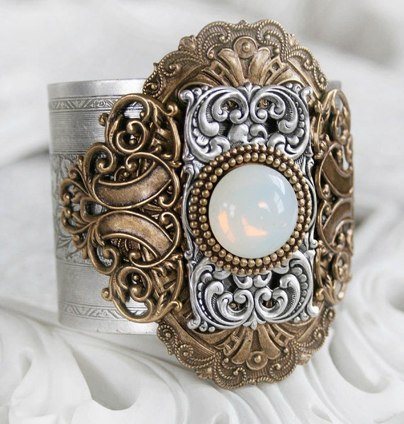 THE OPAL Victorian ornate fantasy cuff, steampunk cuff bracelet with aged metal and opal focal