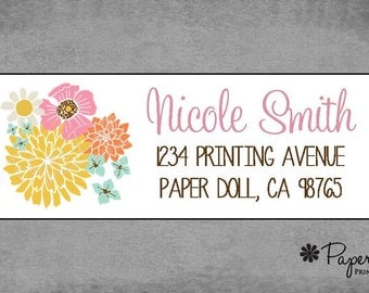 Whimsical Flowers  - Brown Gold Pink Blue - Return Address Labels - Stickers