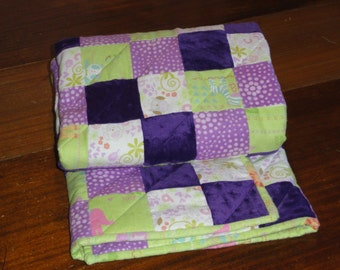 OWLS.  Patchwork Flannel and Minky Baby Quilt, with Owls and Animals.  So soft, Beautiful Lavender, Green and Cream.