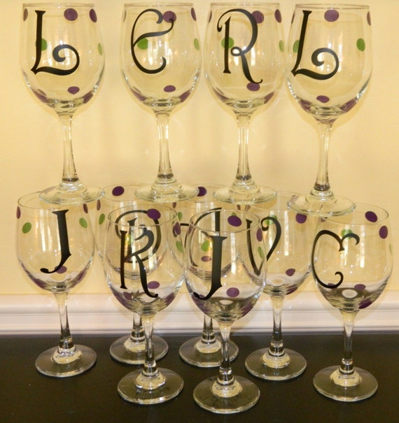 Monogrammed Wine Glass  with Single Initial - Personalized Single Initial - Bridesmaid Gift - Sorority Glasses -