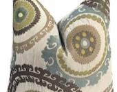 Suzani Pillow Cover 20X20 Decorative Home Decor Fabric-Throw Pillow-Accent Pillow-Blue-Brown-Living Room Pillow-Toss Pillow