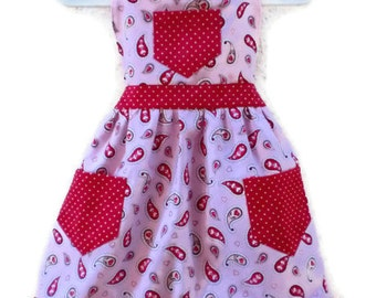 Children's Apron, Toddler apron, Girls Apron, Baking Apron, Cooking Apron, Heart Apron, Kids Apron, Little Girls Apron, Pink Apron