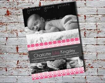 Digital Baby Birth Announcement Custom Birth Announcement, Girls Birth Announcement, Boy's Birth Announcement