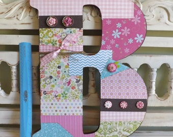 "Custom Large Letter Initial Monogram Name Wall Decor Girls Room Gift 18"" Whimsical Floral Princess"