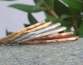 6 Set of Sterling Silver , 14k Gold fill and Rose Gold Fill Stack Ring.Hammered Stack Ring.Skinny Bands.Thin Single Ring.