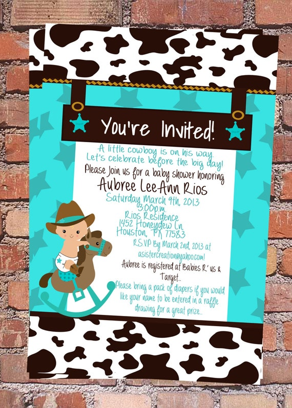 Items Similar To Little Cowboy Baby Shower Invitation