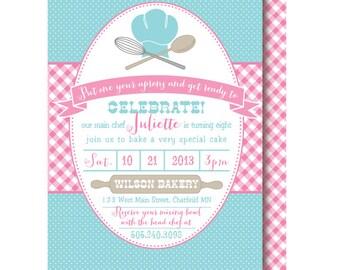 Baking Birthday Invitation, Cake Bake Party Invitations