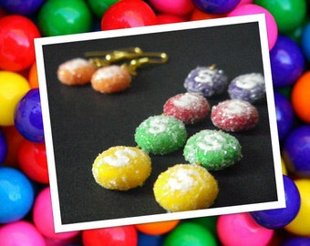 Skittles Candy Earrings - Handmade - Polymer Clay - Hook Style - Rainbow
