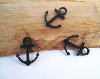 20pcs black color anchor  charm pendant  15mmx19mm