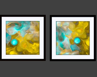 Abstract Art Painting Print AQUA PEARL Set of 4 Square - U Choose Size Contemporary teal blue turquoise aqua yellow lemon zest