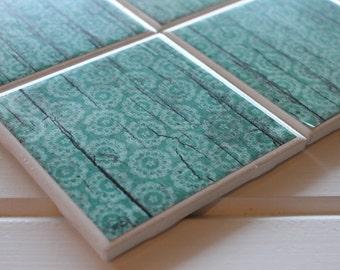 Shabby Chic Rustic Blue Coasters Four Piece Ceramic Tile Set