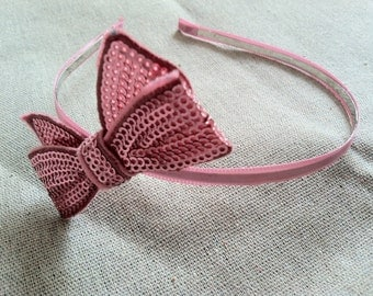 Light Pink Sequined Bow Headband