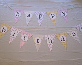 Happy Birthday Flag Banner (Pink, Yellow, Green)