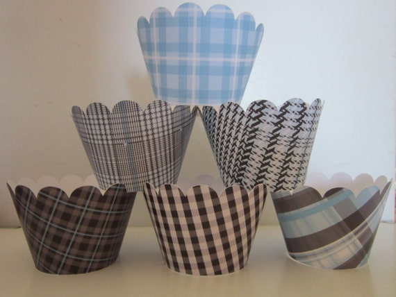 12 Standard Size Light Blue Black Gray Little Man Cupcake Wrappers