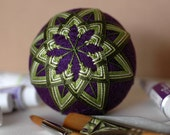 cut all the flowers - Japanese temari - zen home decor ornament - eggplant purple with moss green embroidery - crafting for a cause