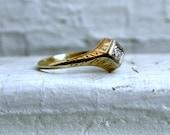 Super Sweet Engraved 14K Yellow Gold Diamond Engagement Ring