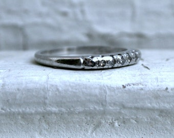 Vintage Platinum Diamond Wedding Band - 0.21ct