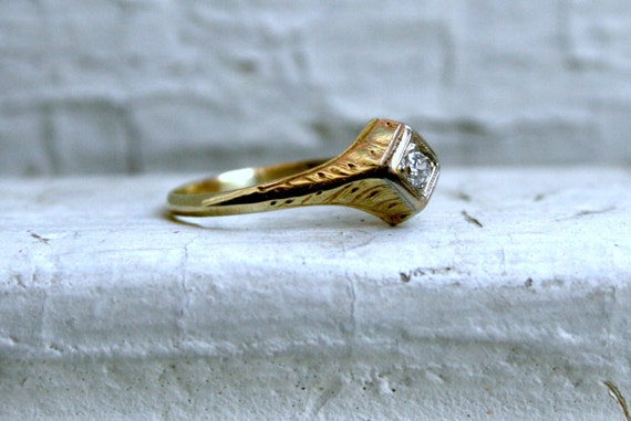 Super Sweet Engraved 14K Yellow Gold Diamond Engagement Ring