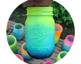Neon Ombre Galaxy Mason Jar - Hand Painted - Super Unique One of a Kind Spring Bright Colors
