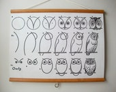 """Canvas Vintage Pull Down Style School Chart with Oak Wood Trim - How to Draw Owls (24""""x18"""")"""