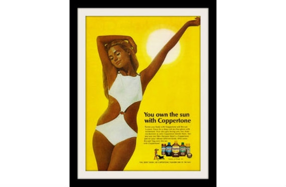 1970 COPPERTONE Pinup Tanning Ad, Vintage Advertising Wall Decor Art Print