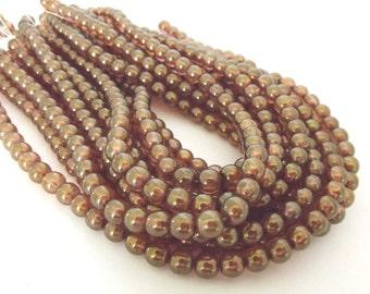 Czech Glass Beads, Luster Rose Gold Topaz, 6mm Round - 44 beads