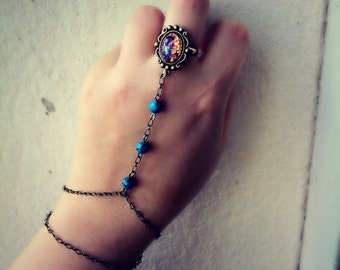 opal and turquoise slave bracelet, hand chain,bracelet ring, slave ring, opal ring, turquoise bracelet, ring connected to bracelet