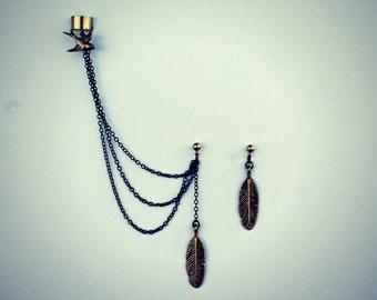 bird ear cuff feather earrings, chains ear cuff, feather ear cuff, bird earrings, tribal earrings