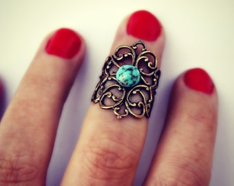 knuckle ring in turquoise matrix, midi ring,  above the knuckle ring, turquoise ring, antique brass ring, unique ring