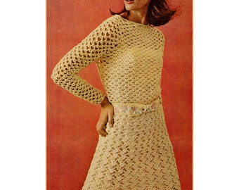 1960s Lace Crochet Party Dress, Long Sleeves - Crochet pattern PDF 6233