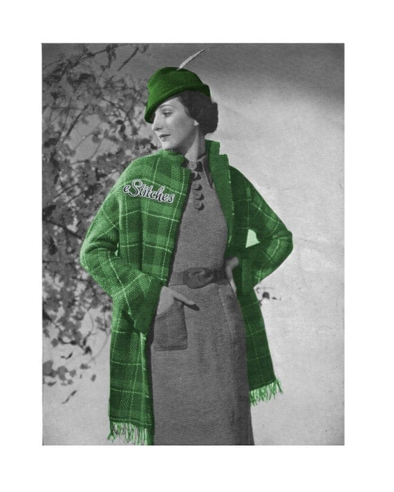 1930s Plaid Coat Hip Length with Collar Robin Hood Hat and