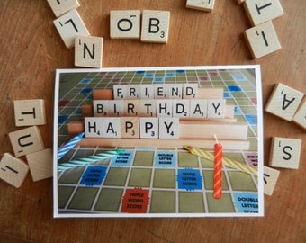 Friend Happy Birthday Scrabble or Words with Friends Greeting Card with candle embellishment