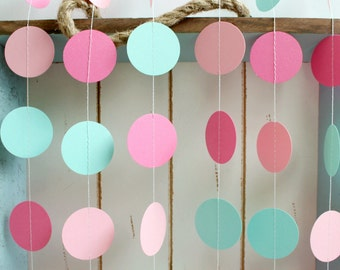 Mint Green, Light Pink, Dark Pink 12 ft Circle Paper Garland- Wedding, Birthday, Bridal Shower, Baby Shower, Party Decorations