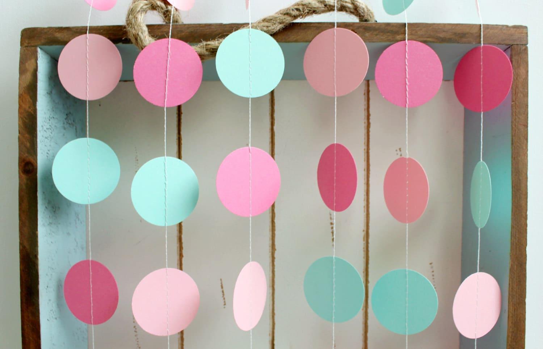 Mint Green Light Pink Dark Pink 12 Ft Circle Paper Garland