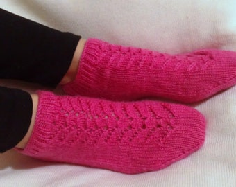 DISCOUNT - Hand Knitting Home Slippers- Pink Slippers - Handmade Home Pink Slippers