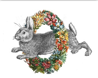 Mixed media Decorative art Animal painting drawing illustration portrait  print POSTER 8x10Happy  Rabbit