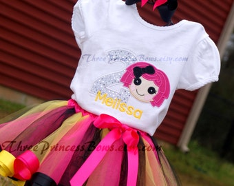 lalaloopsy Sugar Crumbs Birthday Ribbon Trim Tutu Embroidered Shirt Bow Complete Outfit