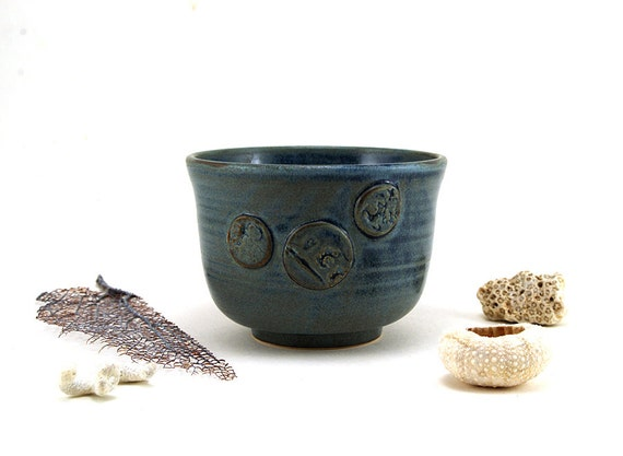 Blue Ceramic Cup, Yunomi or Tea Bowl:  Beach Themed Unique Pottery Gift for Him or Her, Fathers Day, Mothers Day Gift by MiriHardyPottery