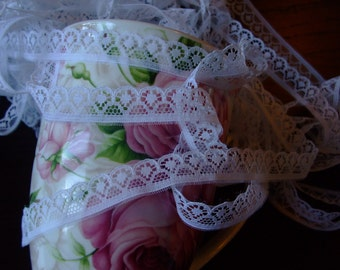White lace,white trim,vintage,supplies,12 yards