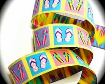 Woven Jacquard Ribbon Flip Flops Multi Colors - 1 1/4""