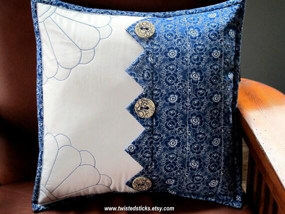 Decorative Pillows Indigo : Indigo Sashiko Throw Pillow Decorative Pillow by twistedsticks