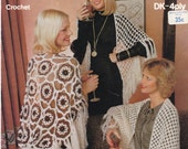 On Sale - Sirdar - Crocheted Shawls Pattern  Vintage 1970s