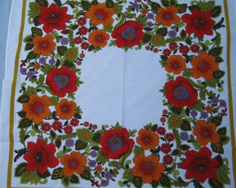 On Sale - 1960s Vintage Tablecloth with Red and Orange Floral Display on White Background