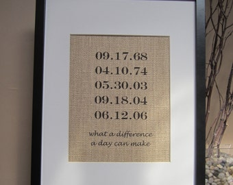 """Special Dates Personalized Burlap Wedding Gift - 8"""" x 10"""" - Engagement, Shower, Wedding - What A Difference A Day Can Make"""