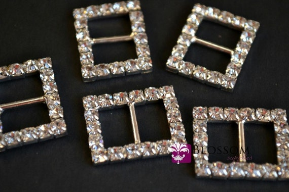 CLEARANCE Metal Rhinestone Rectangle Buckles - Crystal Clear Ribbon Sliders 17x21mm - Bow Centers - Wedding Invitation Slider (BS3910)