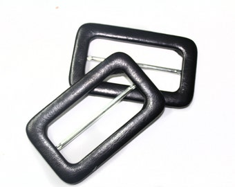 2 PCS Buckles Covered in Black High Quality Faux Leather Fabric Accessories for Crafts, Embellishments