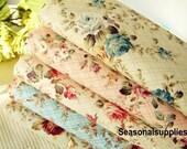 "Flower Fabric/ Cotton Fabric/ Shabby chic/ Flower Cotton/ Green Pink Blue Fabric/ Spring Fabric/ Rose Fabric - 1/2 yard 18'X59"" (G9)"