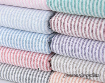 Stripe Cotton Fabric,DIY Craft,,Simple Style,Pink blue green brown red black stripe fabric 1/2 yard (G35)