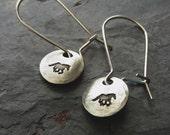 Hand stamped Horse Earrings- Sterling Silver Dangle earrings- Equestrian Earrings