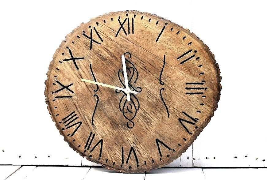 large rustic wall clock engraved wooden one of a clock